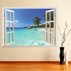 3D naklejka na ścianę - okno na plażę
