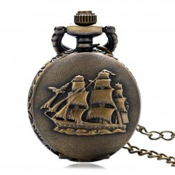 Mały kieszonkowy zegarek w stylu vintage z żaglówką