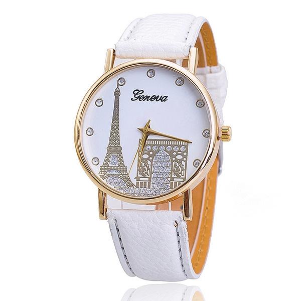 Dámské hodinky s motivy Paříže - bílá