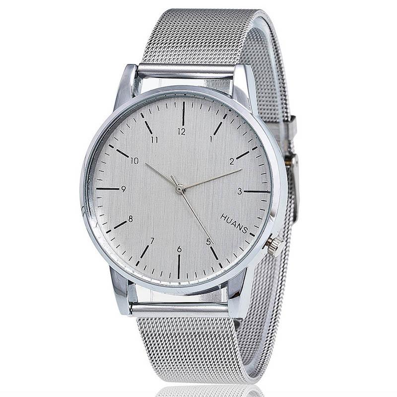 Unisex hodinky s kovovým páskem - bílá barva