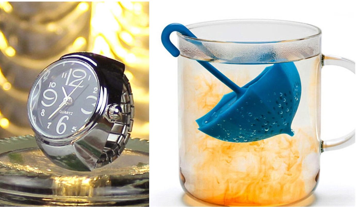 Prstýnkové hodinky s mohutným ciferníkem a Sítko na čaj v podobě paraplíčka