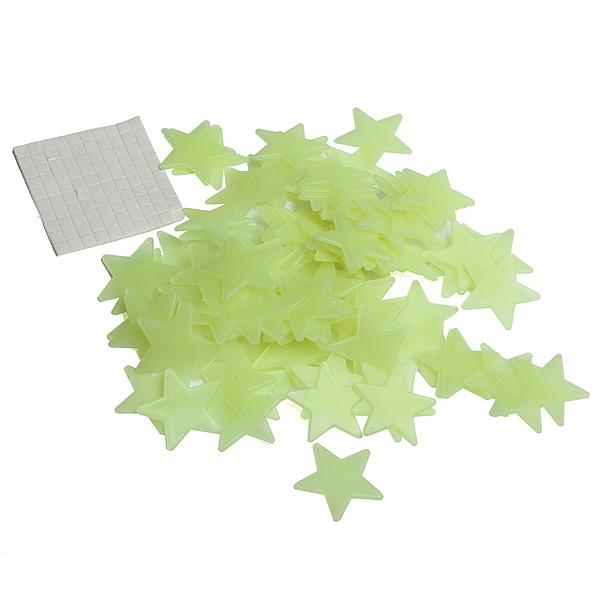 100 kusů plastových fluorescenčních hvězdiček