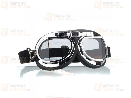 Silberne Brille für Motorradfahrer mit klaren Gläsern