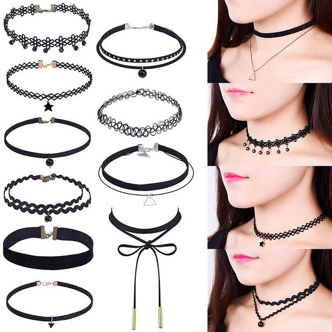 Sada 10 dívčích náhrdelníků v černé barvě 1