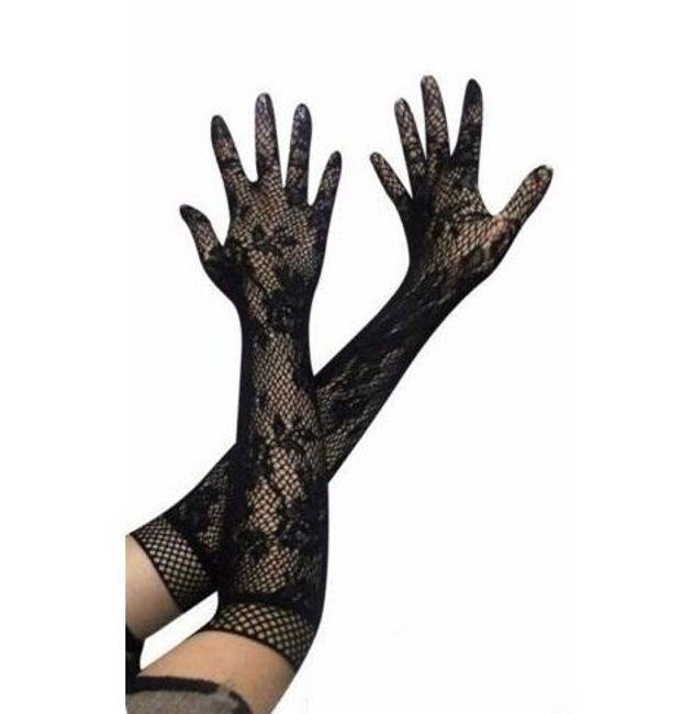 Dlouhé krajkové rukavičky k šatům - 3 barvy 1