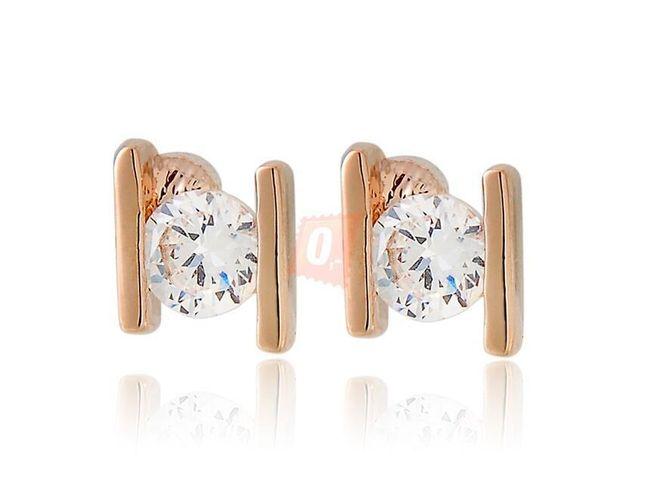 Elegantní stylové náušnice s kamínkem - zlatá barva 1