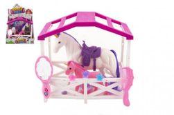 Jednorožec kôň so sedlom s žriebätkom česacia flíska plast s doplnkami s ohradou v krabici 23x20x15cm RM_00850379