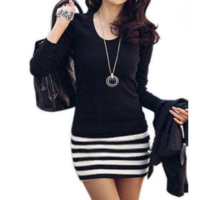 Šaty s dlouhým rukávem a vzorem proužku 1