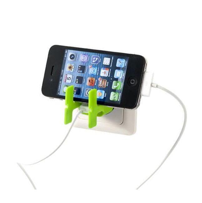 Zielony stojaczek na telefon i organizator na kable - 2w1 1