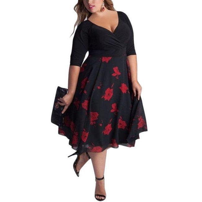 Letní šaty v plus size velikostech 2 varianty - Černá-velikost č. 4 1