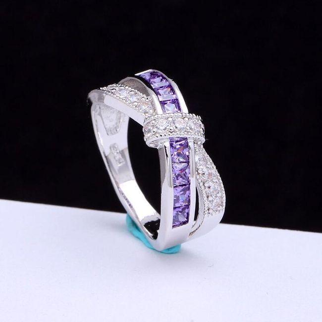 Dámský prsten propletený - fialové kamínky 1