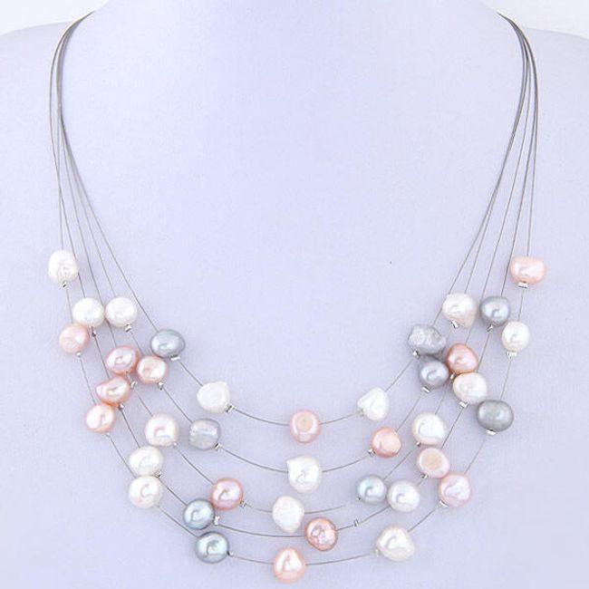 Vícevrstvý náhrdelník s perleťovými korálky - barevný 1