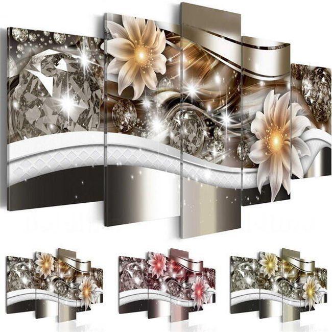 Pânze tablou decorativ cu motiv floral și diamante - 5 bucăți - fără resort si rame 1