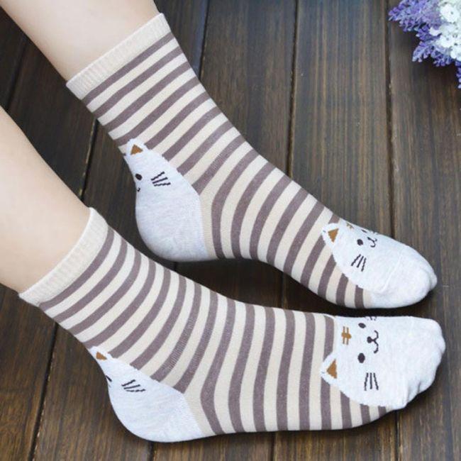 Dámské ponožky s veselými kočkami - 6 barev 1