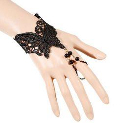 Bransoletka i pierścionek w jednym - kolo czarny - lub naszyjnik