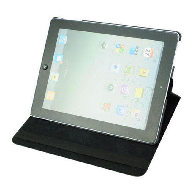 Otočné elegantní ochranné pouzdro se stojánkem pro nový iPad - umělá černá kůže 1