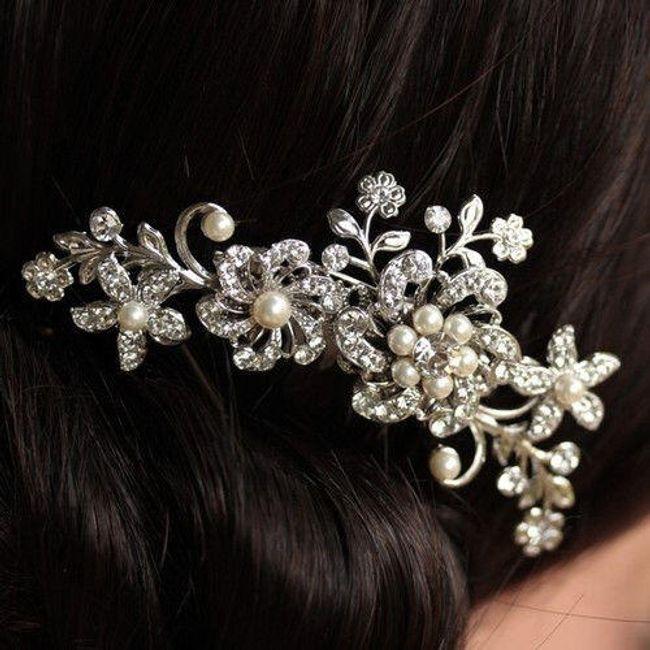 İnci ve taşlı düğün saç tarağı 1