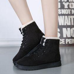 Дамски велурени обувки с пух Черно - 39