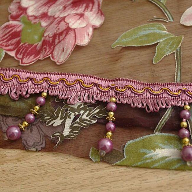 Záclona s květinami - Vínová s korálky, velikost 100 x 250 cm 1
