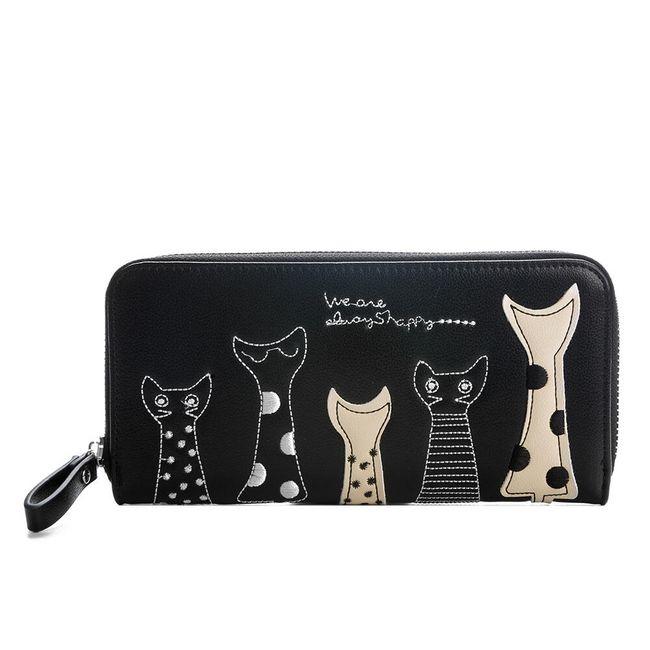 Dámská dlouhá peněženka s kočičkami - různé barvy 1