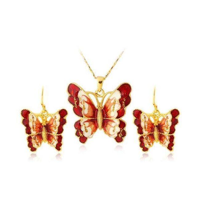 Sada náhrdelníku a náušnic s červenými motýly 1