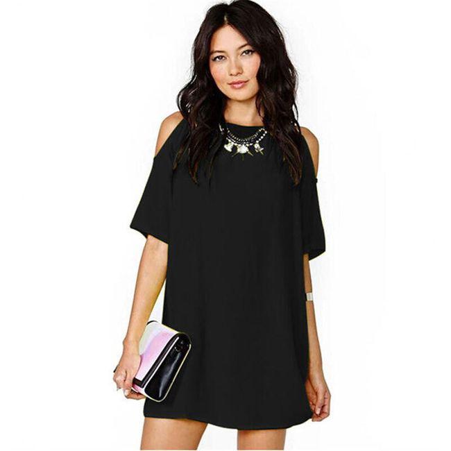 Свободное платье-мини с вырезами на плечах- 4 цвета 1