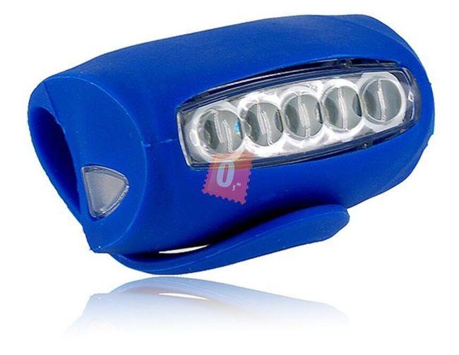 Univerzální silikonové světlo (blikačka) na kolo 5+2 LED modrá barva 1