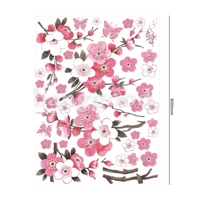 Naljepnica za zid sa motivmo roze cvetića 1