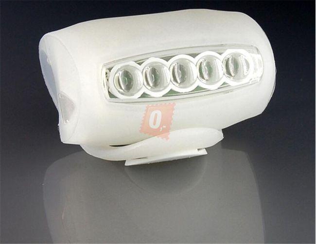 Univerzální silikonové světlo (blikačka) na kolo 5+2 LED bílá barva 1