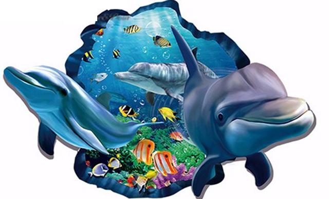 3D nálepka s delfíny 1