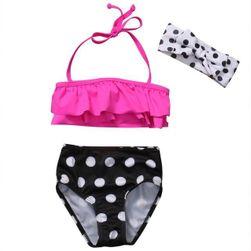 Раздельный купальник для девочек с головной повязкой KC046