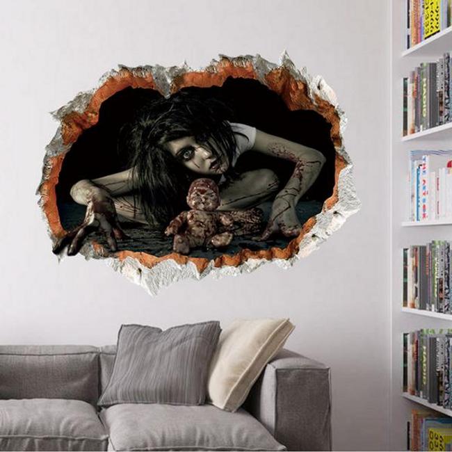 Ijesztő témákkal készült Halloween 3D-s falimatrica 1