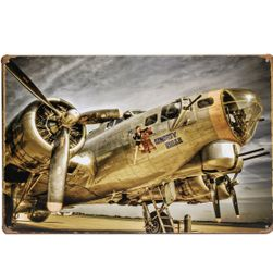 Metalni retro poster - borbeni avion