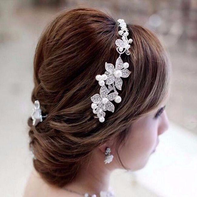 Svatební květinová čelenka s kamínky 1