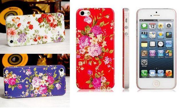Ochranné pouzdro pro iPhone 5 zdobené květinami - 3 barvy 1