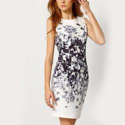 Дамска рокля с цветя - бял цвят