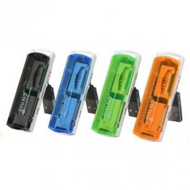 Univerzální čtečka paměťových karet do USB, čte SD/MMC/RS-MMC/MiniSD/TF/MS/M2 - 4 barvy 1