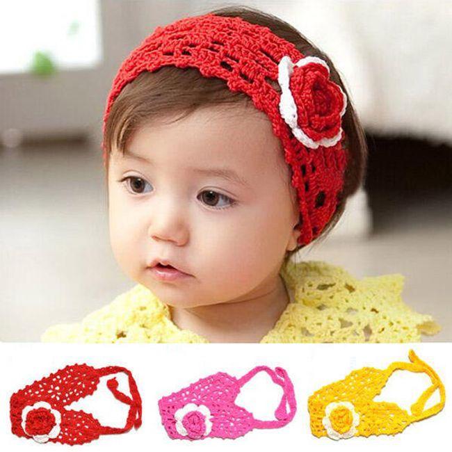 Dívčí háčkovaná čelenka s kytkou - ve 3 barvách 1