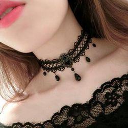 Dámský stylový choker s kamínky - černá