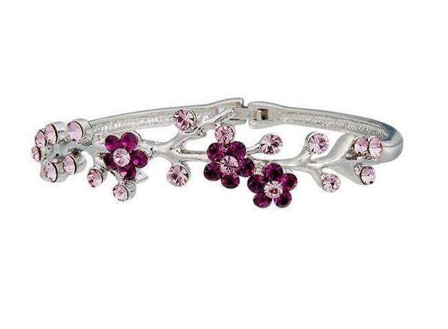 Náramek s motivem květin - růžové kamínky 1