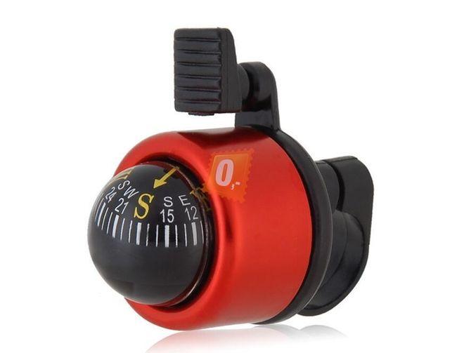 Nerezový zvonek na kolo s kompasem červený 1