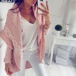 Dlouhý huňatý cardigan - růžový