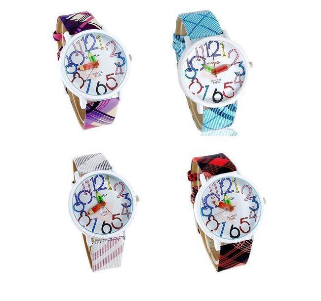 Dámské náramkové hodinky s ručičkami ve tvaru pastelek 1
