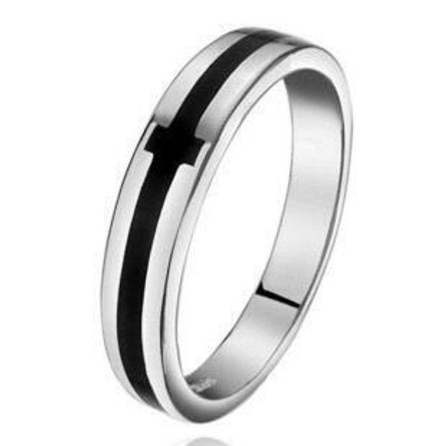 Pánský prsten s černým dekorem do kříže 1