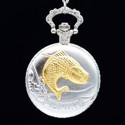 Zegarek kieszonkowy w stylu vintage dla wędkarzy w srebrnym kolorze