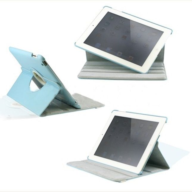 Otočné elegantní ochranné pouzdro se stojánkem pro iPad2- umělá kůže modrá 1