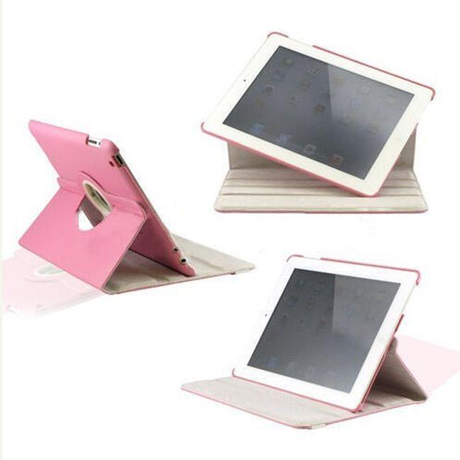 Otočné elegantní ochranné pouzdro se stojánkem pro iPad2- umělá kůže růžová 1