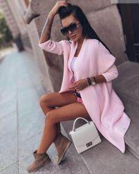 Dlouhý pletený cardigan - růžový