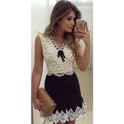 Černobílé krajkové šaty