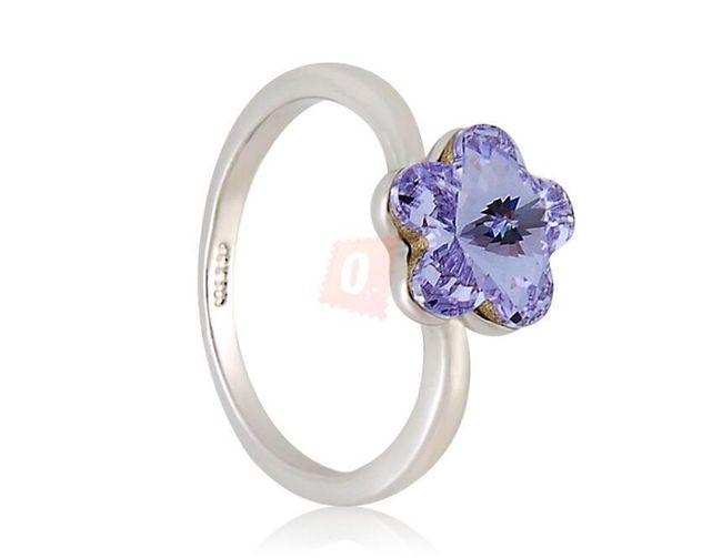 Prstýnek s fialovou květinou - stříbrná barva 1